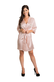 Personalized Embroidered Satin Blush Robe