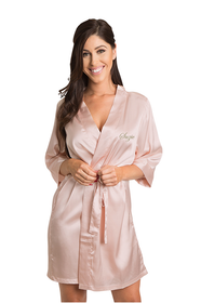Personalized Embroidered Blush Satin Robe