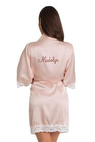 Personalized Rhinestone Blush Lace Satin Robe