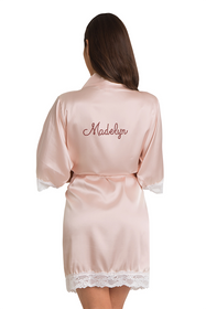 Personalized Rhinestone Blush Lace Satin Robe