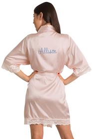 Personalized Rhinestone Lace Blush Satin Robe