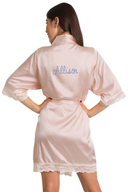 Personalized Rhinestone Lace Blush Satin Robe
