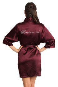 Bridesmaid Burgundy Print Robe