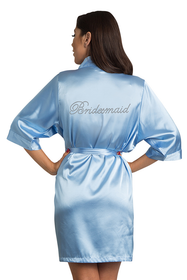 Rhinestone Bridesmaid Sky Blue Robe