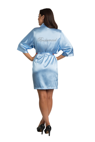 Rhinestone Bridesmaid Sky Blue Satin Robe