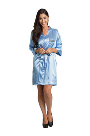 Personalized Embroidered Sky Blue Satin Robe Front