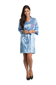 Personalized Embroidered Monogram Sky Blue Satin Robe