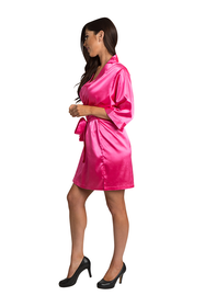 Personalized Embroidered Monogram Hot Pink Satin Robe