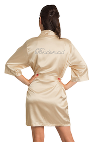 Rhinestone Bridesmaid Gold Satin Robe