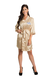 Personalized Embroidered Gold Satin Satin Robe
