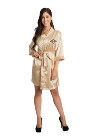 Personalized Embroidered Monogram Gold Satin Robe