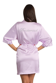Rhinestone Bridesmaid Lavender Robe