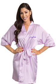 Personalized Embroidered Lavender Satin Robe