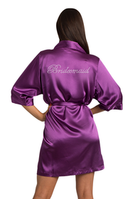 Rhinestone Bridesmaid Eggplant Robe
