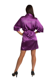 Bridesmaid Rhinestone Eggplant Satin Robe