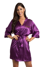Personalized Embroidered Eggplant Satin Robe