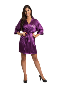 Custom Embroidered Monogram Eggplant purple Satin Robe
