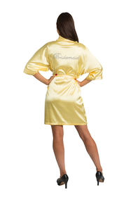 Rhinestone Bridesmaid Yellow Satin Robe