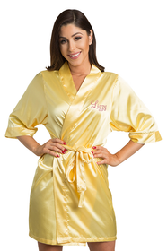 Personalized Embroidered Yellow Satin Robe