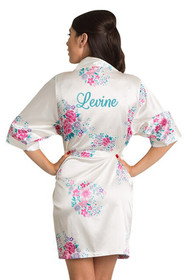 Personalized Embroidered White Floral Robe Crop