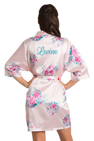 Personalized Embroidered Pink Floral Robe Crop