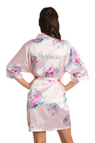 Pink Personalized Glitter Floral Robe Back