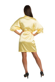 Personalized Embroidered Monogram Yellow Satin Robe