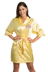 Personalized Embroidered Monogram Yellow Robe