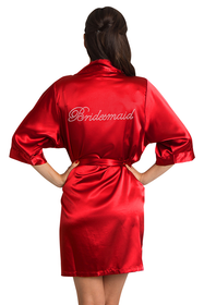 Rhinestone Bridesmaid Satin Red Robe