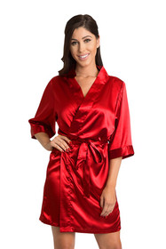 Personalized Embroidered Print Red Satin Robe