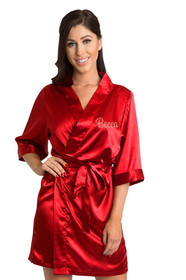 Personalized Embroidered Red Satin Robe