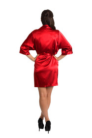 Personalized Embroidered Monogram Red Satin Robe