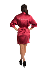 Rhinestone Bridesmaid Crimson Satin Robe