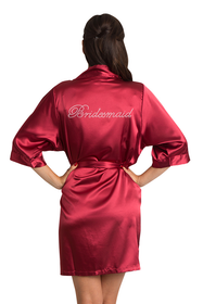Rhinestone Bridesmaid Crimson Robe