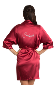 Personalized Glitter Print Cranberry Red Robe