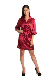 Personalized Embroidered Monogram Crimson Satin Robe