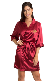 Personalized Embroidered Monogram Crimson Robe