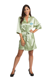 Personalized Embroidered Monogram Sage Green Satin Robe