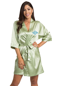 Personalized Embroidered Monogram Sage Green Robe