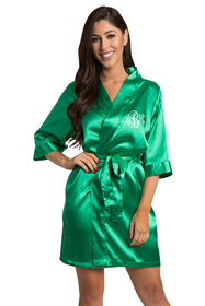 Personalized Embroidered Monogram Emerald Green Robe