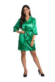 Personalized Embroidered Monogram Emerald Green Satin Robe