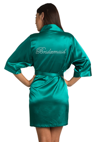 Rhinestone Bridesmaid Teal Robe
