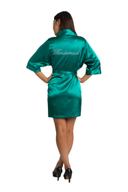 Rhinestone Bridesmaid Teal Satin Robe