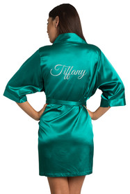 CUSTOM GREEN SATIN ROBE