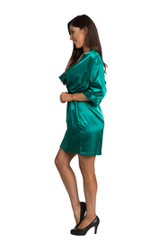 Personalized Embroidered Print Teal Green Satin Robe