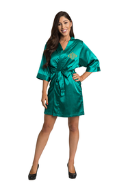 Personalized Embroidered Monogram Teal Satin Robe