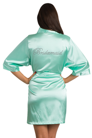 Rhinestone Bridesmaid Mint Green Robe