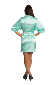 Rhinestone Bridesmaid Mint Green Print Robe