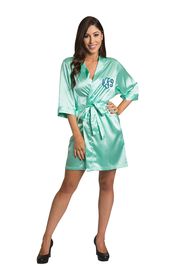 Personalized Embroidered Monogram Mint Green Satin Robe