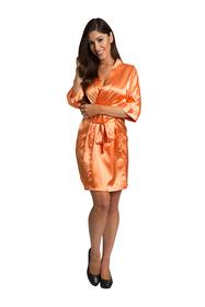 Personalized Print Embroidered Orange Satin Robe